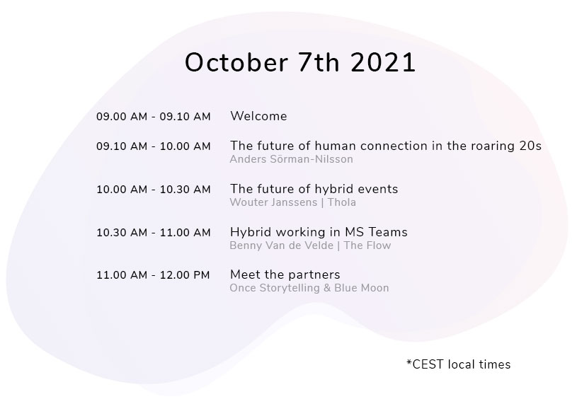 Schedule Connecting people in a hybrid world online event